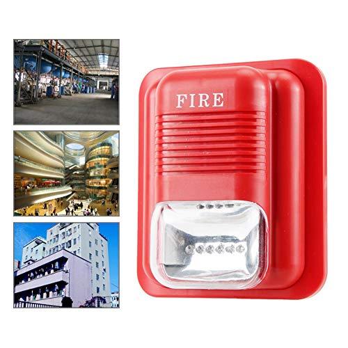 Warnung Ton und Licht, DC 12V/24V Ton und Licht Brandschutzalarm Warnblitz Sirene Alarm Sicherheitssystem, Eingebaute 6 LEDs