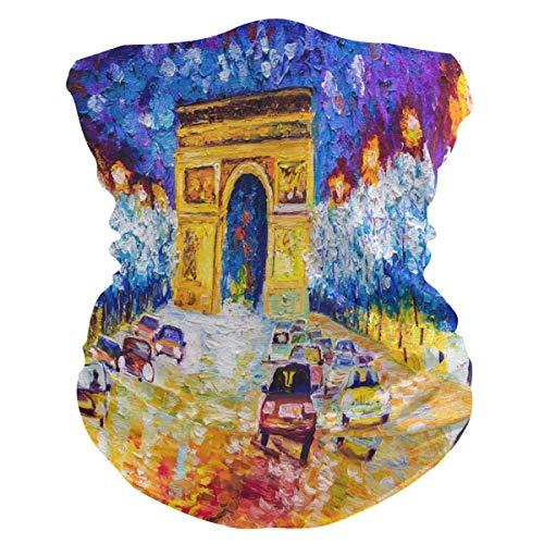 Lerous - Pasamontañas sin costuras, diseño de arco de triunfo de Francia, para el cuello, polainas para el polvo, UV, resistencia al sol, deportes al aire libre (con filtro de 2 pm 2.5)