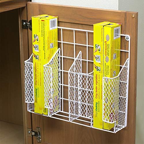 Home Basics Organizer Rust Resistant, Perfect for Food Storage, Silver Foil, Wax Paper, Sandwich Bags, Plastic Wrap-Mounts