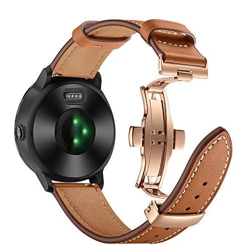 AISPORTS Compatible con Huawei Watch GT2 Correa de piel auténtica de 42 mm, 20 mm de liberación rápida, correa de repuesto para Garmin D2 Air/Venu/Approach S12/S40/S42