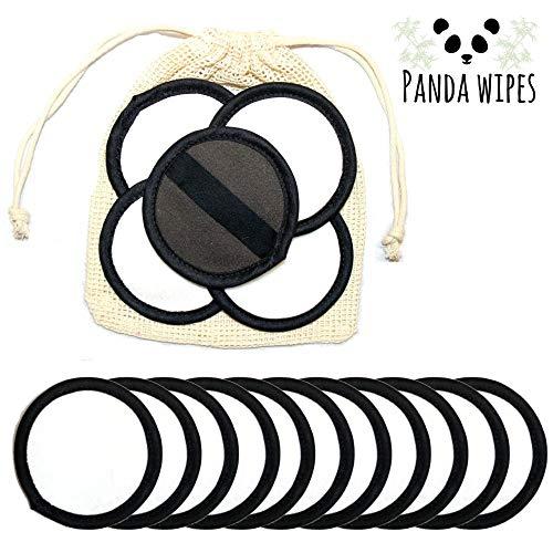 Lingettes panda - Lingettes visage en bambou réutilisables - Lingettes démaquillantes naturelles douces - Peau sensible - Respectueuses de l'environnement - Sac à linge - Lavable en machine
