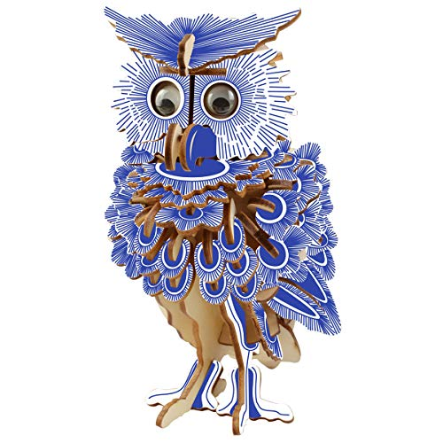 HQdeal Laser Cutting 3D Wooden Puzzle Model Kits, Owl Woodcraft Construction Kit, Owl Jigsaw Puzzles Model, Model Building Kits for Adult and Teens