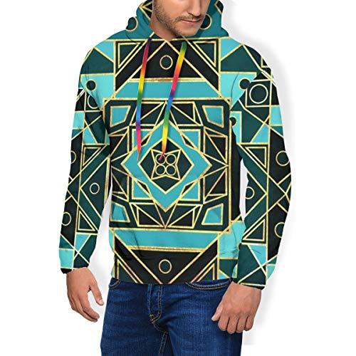 Men\'s Print Fashion Hoodie Art Deco Gold Teal Padded Velvet Hoodie Sweatshirts Pullover