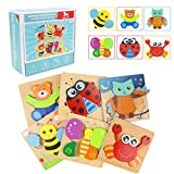 Wooden Puzzles for Toddlers, WOOD CITY Animal Jigsaw Puzzles for Kids 1 2 3 Years Old, Educational Montessori Toys for Boys and Girls (6pack)