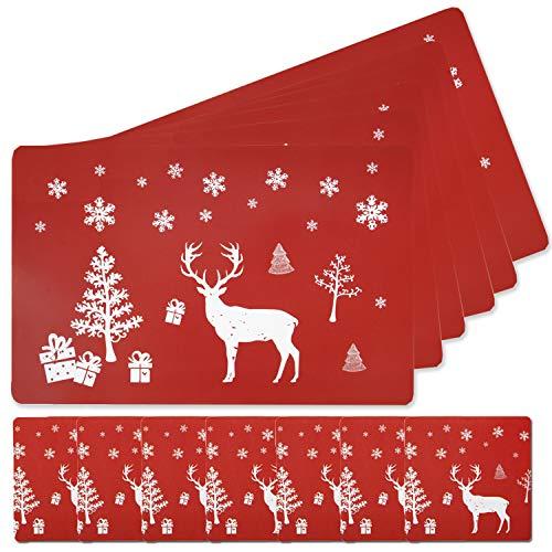 Fansport Telleruntersetzer Platzset Abwischbar ,Weihnachten Tischset Platzset 6Er Set Weihnachten Tischläufer Weihnachten Tischdekoration Maritim Für Esstisch Läufer Dekoration(Rot)