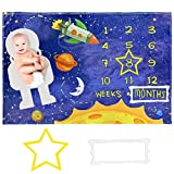 Baby Monthly Milestone Blanket (Space) - 60x40 inch Premium Soft Fleece (300 GSM Thickness) Gender Neutral Baby Blanket - Perfect Milestone Blanket Baby Shower Set for New Mom