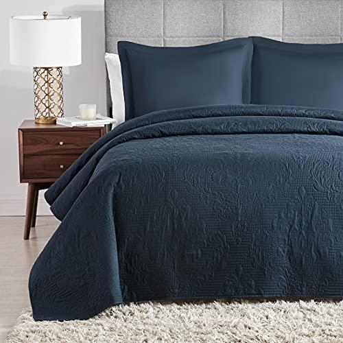 Hansleep Tagesdecke 200x220 cm Wohndecke Blau Bettüberwurf Mikrofaser Bettdecke für Schlafzimmer Stepp Decke Super Weich & Komfort Geeignet für Bett
