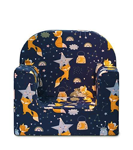 Mini Sessel für Kinder, Kindersessel - Dekoration - sehr leicht (weiße Blumen) (Blauer Fuchs)