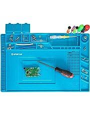 Spurtar 7mm anti-statische soldeermat station 500℃ hittebestendige magnetische multifunctionele DIY reparatie siliconen werkpad voor solderen solderen soldeerbout telefoon horloge computer - blauw 45x30cm