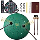 FOUR UNCLES Steel Tongue Drum, Percussion Instrument Handpan Drum C Key with Bag, Music Book and Mallets for Meditation Entertainment Musical Education Concert Yoga (12 inch, Green)