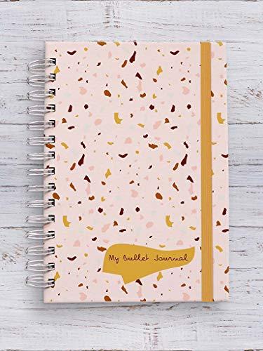Caderno Bullet Journal Terrazzo Rosa Pontilhado 75g 100 folhas