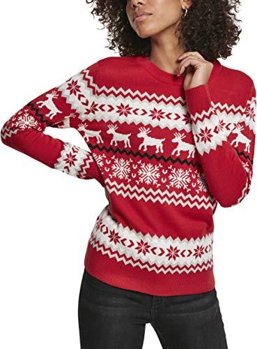 Urban Classics Damen Pullover Ladies Norwegian Christmas Ugly Sweater Sweatshirt, Mehrfarbig (X-Masred 02364), X-Large (Herstellergröße: XL)