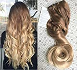 20 Inches 3/4 Full Head One Piece Ombre Dip Dyed Loose Curls Wavy Curly Clip-in Hair Extensions (light brown to sandy blonde)