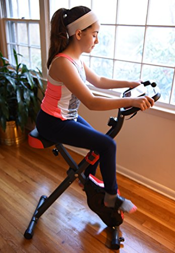 Ivation Exercise Upright Magnetic Cycling Bike Fitness Machine Foldable with Pulse Sensors and LCD Display Max Capacity: 300 Lbs.