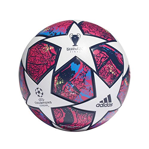 adidas Fin ist LGE Balón de Fútbol, Men's, Top:White/Pantone/Glory Blue/Dark Blue Bottom:Signal Green s20, 5