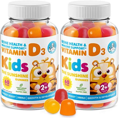 Vitamin D Gummies for Kids & Adults 2000 IU - High-Absorption Natural Vitamin D3 Chewable Gummy Supplements 1000IU - Vegetarian Gelatin-Free Immune Support Vitamins for Children (120 Count)