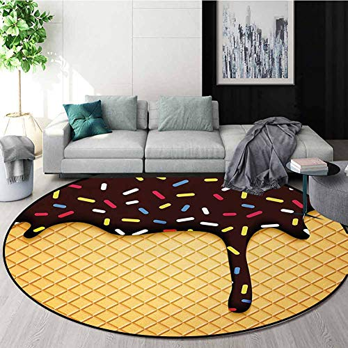 Ice Cream Modern Machine Washable Round Bath Mat,Waffle...
