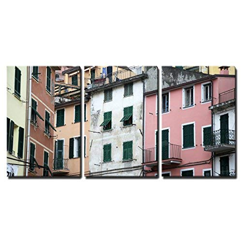 """wall26 - 3 Piece Canvas Wall Art - Riomaggiore, Italy, one of The Cinque Terre Villages - Modern Home Decor Stretched and Framed Ready to Hang - 16""""x24""""x3 Panels"""