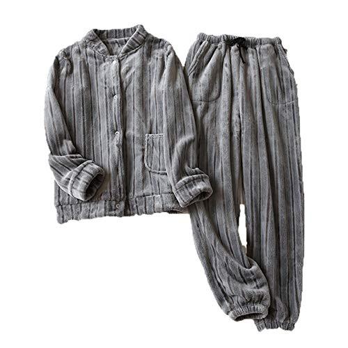 Pijamas Mujer Primavera, OtoñO E Invierno Espesado CáLido Coral Polar Franela Simple Servicio A Domicilio Traje De Dos Piezas Ropa Exterior
