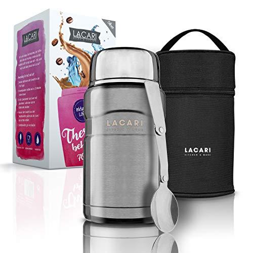 LACARI Kitchen & More Premium Thermobehälter Silber – [700ml] Thermobehälter für Essen – Outdoor-Eignung – 100% BPA frei – Inklusive Löffel & Transporttasche
