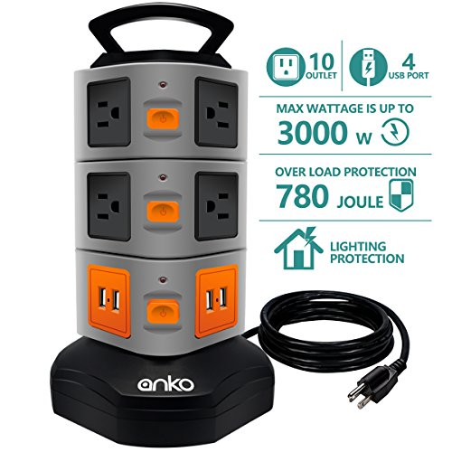Power Strip Tower ANKO 3000W 13A 16AWG Surge Protector Electric Charging Station 10 Outlet Plugs with 4 USB Slot 6feet Cord Wire Extension Universal Charging Station 1Pack