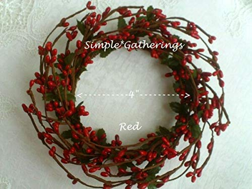 NIMBOD - Holiday, Seasonal Decor Supplies for RED 4' Diameter Pip Berry Candle Ring Crafts Farmhouse Americana for Christmas Decorations, Wall, Door, Home Décor