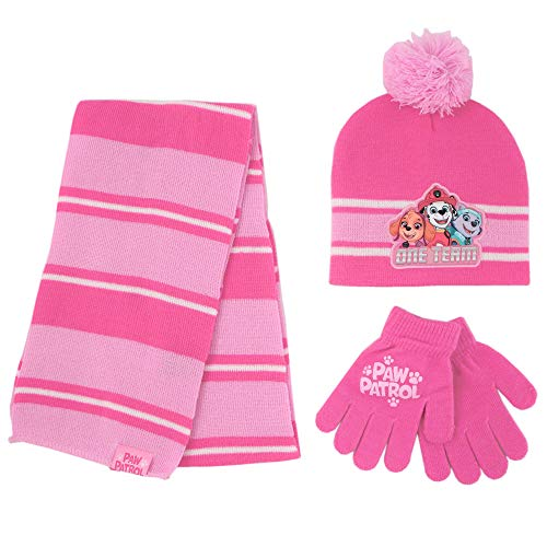 Nickelodeon Girls' Paw Patrol Hat, Scarf Cold Weather, Pink Glove Set Age 4-7, Mittens or Gloves Set-Age 2-7