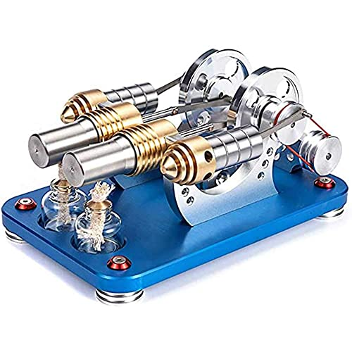 FTFTO Lebende Ausrüstung Vollmetallkörper Stirlingmotor Motormodell Heißluft-Stirlingmotor Motormodell Dampfbetriebener externer Verbrennungsgenerator Physik Wissenschaft