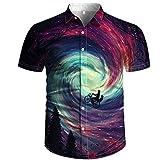 Ocuhiger Camisa Hawaiana para Hombre Vista Trasera De Personaje Camisas De Cuello Redondo Camisetas De Manga Corta con Estampado De Luna En 3D De Verano Blusa De Playa Informal Púrpura