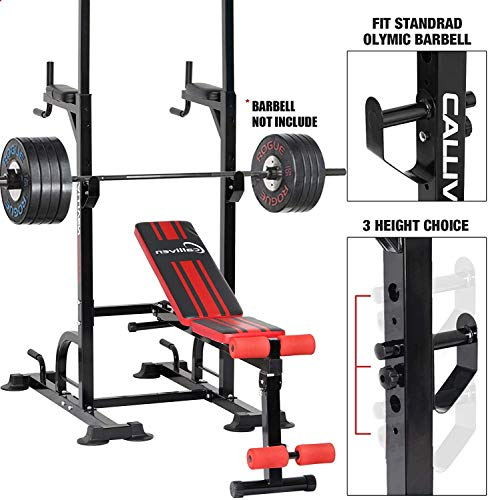 Tespon Power Tower Dip Station, 850lbs Weight Capacity Workout Station with Adjustable Weight/Sit-Up Bench, Dip Stands, Pull Up Chin Up Tower for Home Gym, Strength Training (2021 Version)
