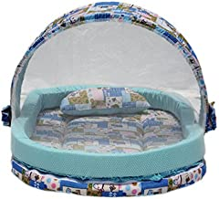 Amardeep and Co Mattress with Mosquito Net and Bumper Guard Animal (Blue) - MT-06-blue-animal-print