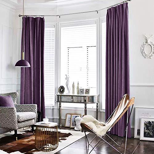 Blackout Curtains Velvet Drapes Rod Pocket 2 Panels (84 inch, Violet Purple)