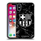Head Case Designs Licenciado Oficialmente FC Barcelona Mármol Negro Crest Patterns Funda de Gel Negro Compatible con Apple iPhone X/iPhone XS