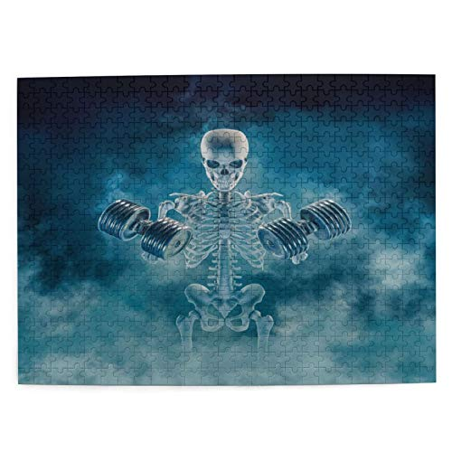 ZELXXXDA Puzzle 500 Stück, Phantom Bodybuilder 3D Scary Fitness Skelett Heben Schwerer Hanteln Rauch,großes Familien-Puzzle-Spiel-Kunstwerk für Erwachsene Jugendliche