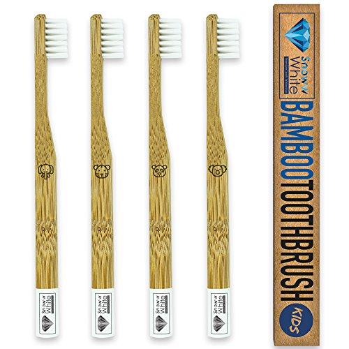 ALLWHITE® Bambus Zahnbürste für Kinder 4er Set - Pflegend weiche Borsten - Kleiner Bürstenkopf - Ökologische Kinderzahnbürste - Plastikfrei verpackt zur umweltfreundlichen Mundhygiene
