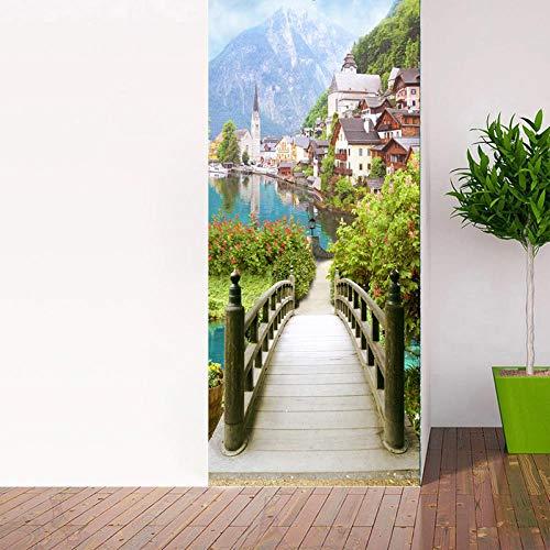 BXZGDJY deurbehang, landelijke houten brug, 3D-deursticker-uitgang, decoratie, deur-wand-papier-wandfoto, pvc-waterdichte zelfklevende schaal en stok-deur, wandbehang, kunstdecoratieve wand-aftrekplaatjes 80X200CM