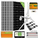 ECO-WORTHY 1200W 24V Solar Wind Generator System Complete Kit for Off-Grid/Home/Farm/Shed: 8pcs 100W Solar Panels + 400W Wind Turbine + 6pcs 50AH Lithium Batteries + 3500W Off-Grid Inverter