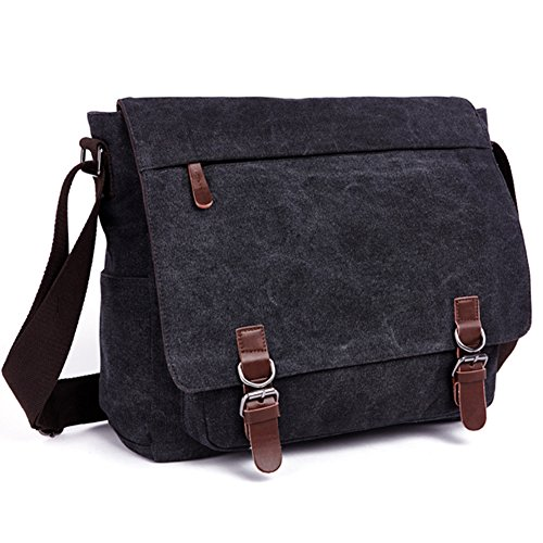 AIZBO Laptop Messenger Bags, Men's Shoulder Bag, 15 Inches Satchel Bag Crossbody Casual Day Bag for School and Work Black