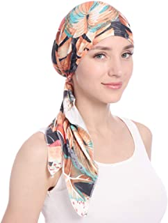 Pre-Tied Bandana Women Cap milk silk turban printed curved flower muslim Hair Cover Hat