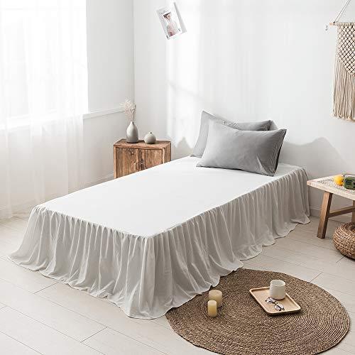 DOMDIL- Spannbettlaken,Ultra weicher, gekräuselter Bettrock aus reinem Polyesterfaser, 150 x 200 cm, 45 cm Tropfen, Weiß