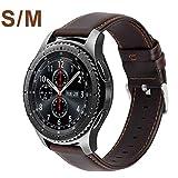 MroTech Bracelet Gear s3 Frontier Cuir Bande Montre de Poignet Remplacement Compatible pour Samsung Galaxy Watch 46MM/S3/Huawei Watch 2 Classic/GT/GT2/GT Active/Elegant 22MM Bracelet Vintage-Café