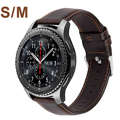 Correa MroTech Compatible Samsung Gear S3 Reloj Galaxy Watch 46mm Cuero Piel Banda de Reemplazo para S3 Classic/Frontier/Amazfit Stratos/Huawei Watch GT 22mm Pulseras de Repuesto -Café Pequeño