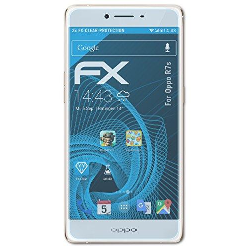 atFolix Schutzfolie kompatibel mit Oppo R7s Folie, ultraklare FX Bildschirmschutzfolie (3X)