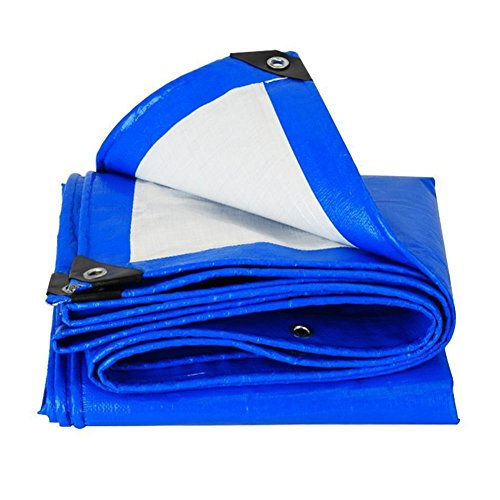 PanYFDD Outdoor Tarpaulin Waterproof Heavy Duty Rain Cloth Truck Warehouse Sunblock Shade Shed Cloth roof, camping (Color : Blue white, Size : 1.5 x 2m)