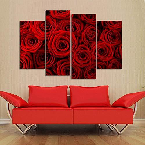 ANTAIBM® 4 Dekorative Malerei Wohnzimmer Fresko Holzrahmen - verschiedene Größen - verschiedene Stile4 Stück kombinierte Blumenbilder Lila Rose Moderne Wandmalerei Leinwand Wandkunst Bild Leinwandmale