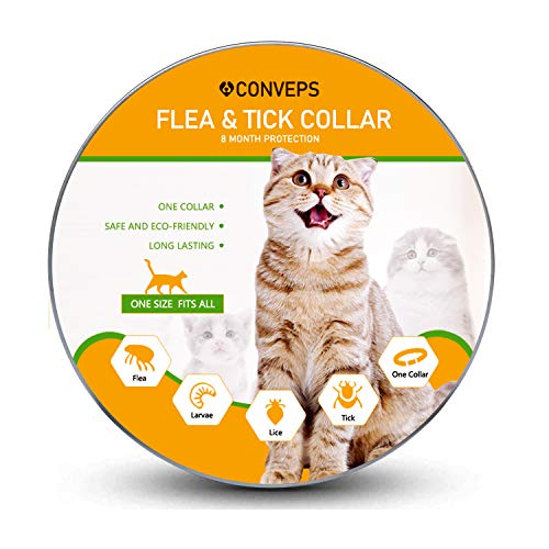 Flea and Tick Prevention Collar for Cats & Small Dogs – Natural Herbal Non-Toxic Adjustable Flеa Collar Waterproof Protection for Small Pet Supplies Repels Flеas Licе Tiсks Mоsquitоes(15 inches)