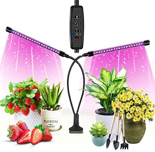 LED-Pflanzenlicht für Zimmerpflanzen, 20 Watt Pflanzenwachstumslicht, 40 LED-Lampenperlen, dimmbar, 6 Ebenen, Doppelkopf-Pflanzenlicht, 3 Timer-Modi (3H / 6H / 12H)
