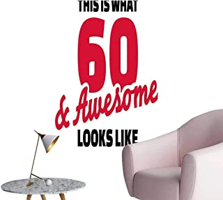 Wall Decorative Motivational Birthday Party Quote 60 and Awesome Image Red Black and White Pictures Wall Art Painting,24