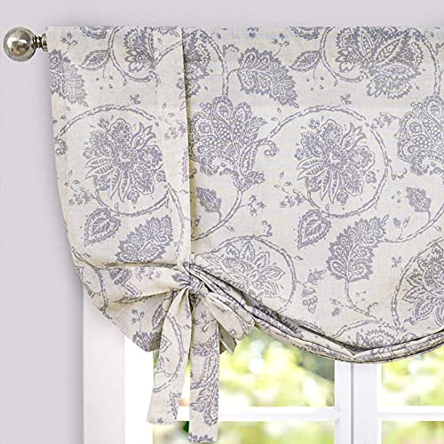 JINCHAN Tie Up Curtains for Kithcen Living Room Adjustable Tie-up Shade Linen Textured Rod Pocket Medallion Design Jacobean Floral Printed Valance 1 Panel 63 inch Grey on Beige