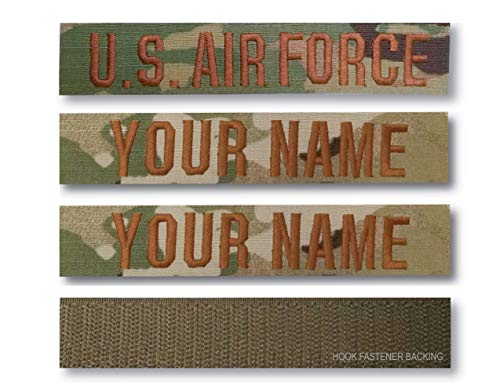 (3 Pieces) US AIR FORCE Branch & Custom Name Tape (OCP) Hook Fastener Backing or Sew-On (OCP, 7' Sew-On)